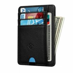 Mens RFID Blocking Leather Minimalist Small Wallet Credit Ca