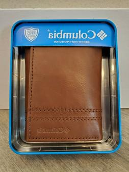 Columbia Mens RFID Shield Trifold Leather Security Wallet Br