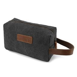 Kattee Mens Travel Toiletry Bag, Canvas Leather Cosmetic Mak