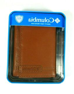 Columbia Mens Trifold Leather Wallet Tan 31CP110Z03 RFID Sec