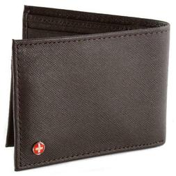 Alpine Swiss - Mens Wallet Genuine Leather Removable ID Card