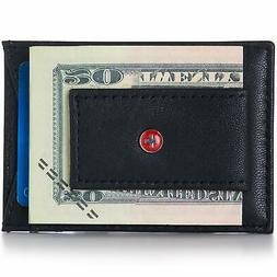 Alpine Swiss Mens Wallet Leather Money Clip Thin Slim Front