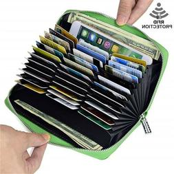 Mens/Womens Leather Large Capacity Credit ID Card Holder RFI