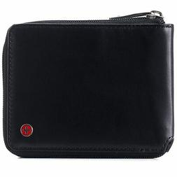 Alpine Swiss Mens Womens RFID Blocking Zipper Wallet Leather