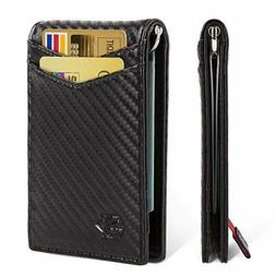 Minimalist Slim Bifold Front Pocket Wallet with Money Clip f
