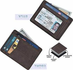 Minimalist Wallet for Men and Women Genuine Leather RFID Sec