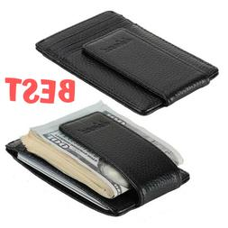 Money Clip Front Pocket Wallet Leather Mens Card Slim Id Cre