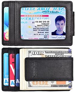 Money Clip, Front Pocket Wallet, Leather RFID Blocking Stron