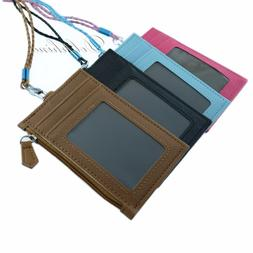Multi Color PU Leather ID Holder with 4 card slots, zipper P