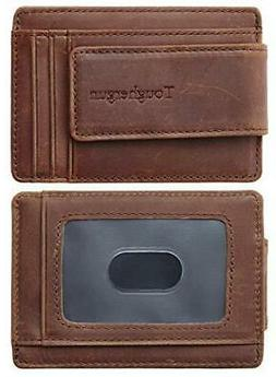 napawalli genuine leather magnetic front pocket money
