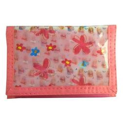 New! Barbie Doll & Flower Kids Trifold Wallet Pink Purse for