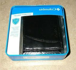 New Black Leather Columbia Security Wallet Front Pocket with