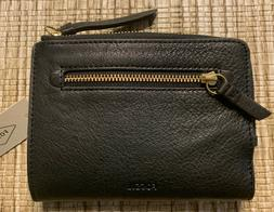 NEW Fossil Fiona Multifunction Black Leather Wallet