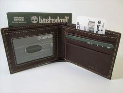NEW in GIFT BOX Timberland Brown Leather Slimfold Mens Walle