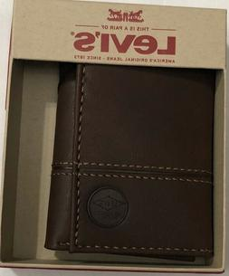 New Levi's Men's Leather Trifold Wallet Brown Color $17.50