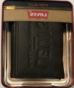 New Levi's Men's Leather Trifold Wallet Brown Color $13.50