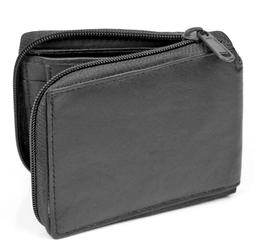 New Mens Bifold Zipper Around Leather Wallet Secure Multi Po