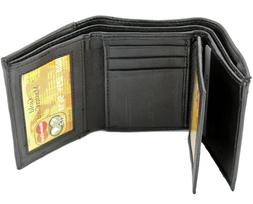 new mens black genuine leather trifold wallet