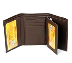 New Mens Brown Genuine Leather Trifold Wallet ID Window Cred
