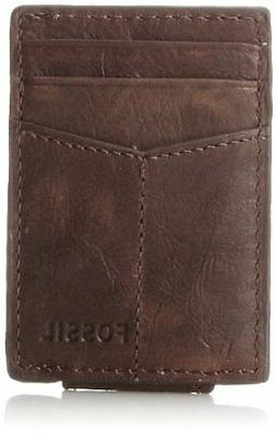 New Fossil Mens Ingram Magnetic Multi-Card Wallet Brown One