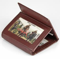 New Mens Leather Trifold Brown Wallet Credit Card Window ID