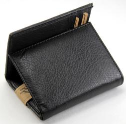 new mens trifold genuine leather black wallet