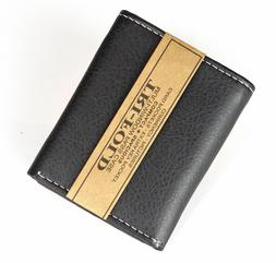 new mens trifold grain leather wallet black