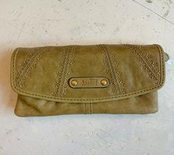 New Never Used Fossil Olive Green Genuine Leather Wallet Too
