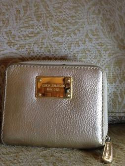 NEW Michael Kors Pale Gold Leather Wallet-free ship!