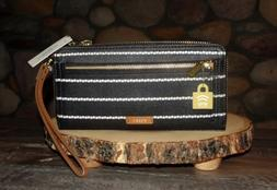 New with Tags, Fossil Logan RFID Zip Around Clutch in Black/
