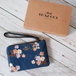NWT Coach 92622 Corner Zip Wristlet with Painted Floral Box