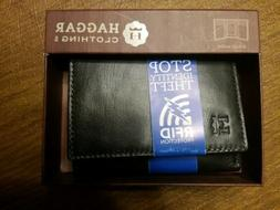 NWT Haggar Black Leather Trifold Men's Wallet/RFID Protectio