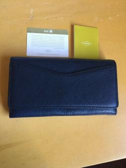NWT Fossil Blue Leather Long Wallet-Beautiful New Condition