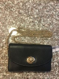NWT COACH CLUTCH CHAIN WALLET IN PEBBLE LEATHER F53578 Black