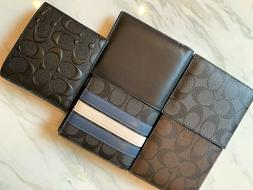 NWT Coach Compact ID Men Wallet in black, brown, signature