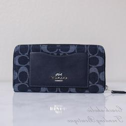 NWT Coach F67588 Accordion Zip Wallet in Signature Denim
