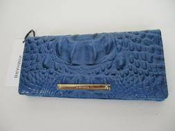 NWT BRAHMIN Melbourne Collection Ady Wallet in Iris Blue Emb