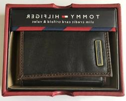 NWT Tommy Hilfiger Men's Leather Slim Credit Card Trifold-Bl