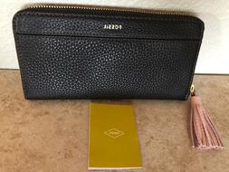 NWT Fossil Tara Clutch Zip Around Wallet Black
