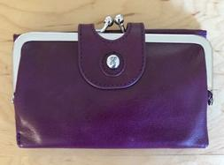 nwt women s leather wallet alice eggplant