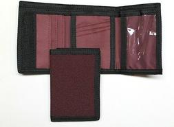 Nylon Trifold Credit Card Wallet- Burgundy