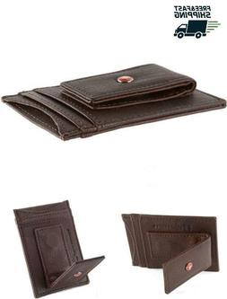 ORIGINAL Alpine Swiss Mens Slim Poket Wallet Leather With Mo
