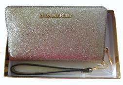 Michael Kors Pale Gold Leather Glitter Large Flat Phone Case