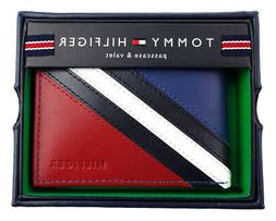 Tommy Hilfiger Passcase and Valet Bifold Wallet-Red/Navy/Whi