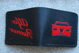 Personalized leather wallet, for men, Handmade,Alfa Romeo,Bl
