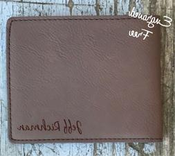 Personalized Mens Wallet Custom Leather Engraved Monogram Gr