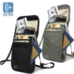 Premium Family Travel Neck Pouch Wallet Safety Passport Hold