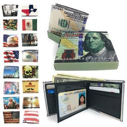 Printed Designs Bifold Wallets in Gift Box Cash Card ID Slot