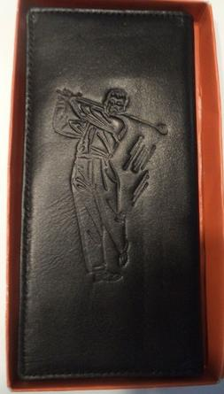 Pro Golf Champion Genuine Leather Tall Wallet ,Black