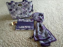 Donna Sharp Purple & Silver Quilted Handbag Purse with Walle